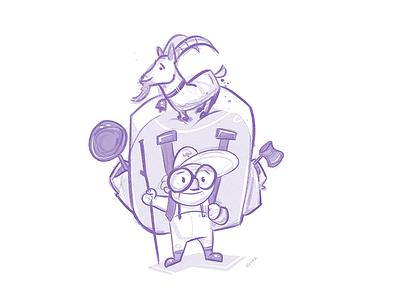 Explore friends adventure goat sketchbook process sketch cartoon illustration spovv characterdesign fun character