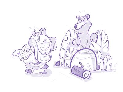 Explore adventure friends cat bear explore sketchbook sketch cartoon drawing illustration spovv characterdesign fun character