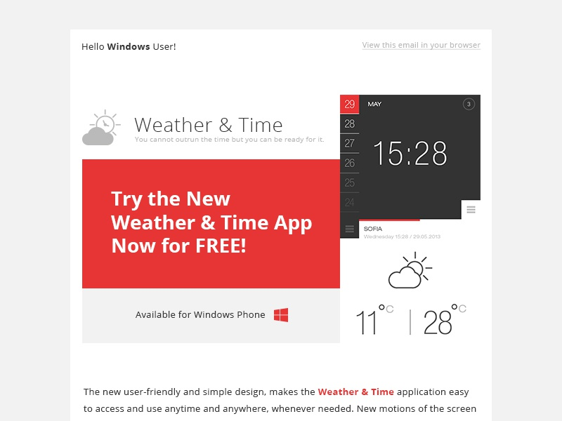 Newsletter/App Release programing page weather time app ui windows phone