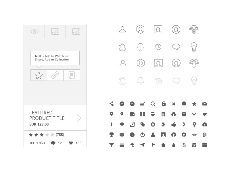 Free 230 Wireframe Icons by spovv - Dribbble