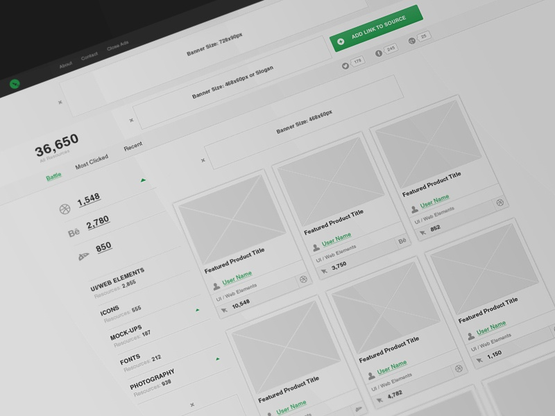BattleShare web fun wireframe icons free psd freebies fonts ui concept library
