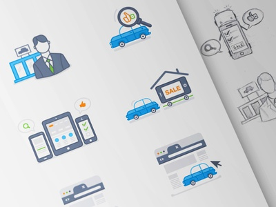 Service Icons dealers widgets mobile apps app mobile icons car cars drawing illustrations