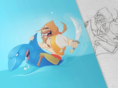 Pirate pirate shark fun character illustration drawing process sea game design