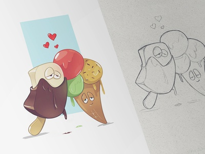 Melting Love melting love ice cream summer collection wtf drawing sketch fun character pen pencil