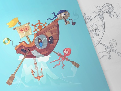 Holy Ship octopus pirate pencil pen character fun sketch drawing mad ship