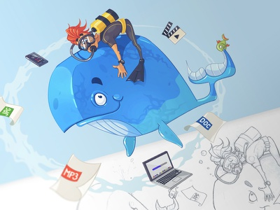 Your Files file byte whale drawing sketch fun character pen pencil