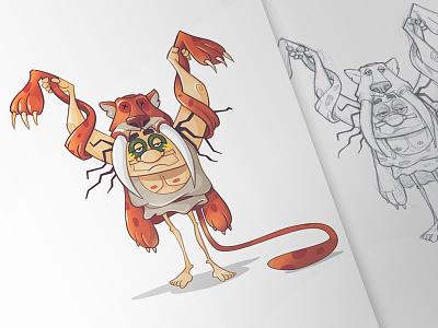 Prehistoric Shaman prehistoric pencil animals drawing sketch fun character digital shaman