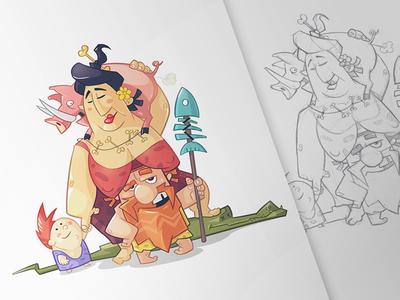 Family prehistoric pencil animals drawing sketch fun character digital hunter