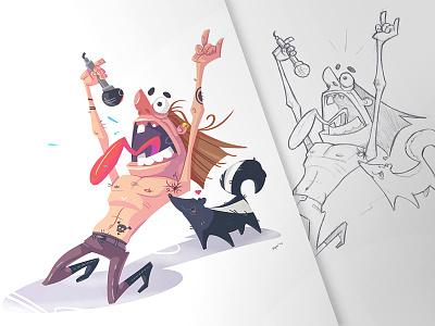 Heavy Metal smell skunk music fun sketch drawing metal heavy-metal