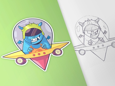 Monsters Pin pin monster process character photoshop drawing cintiq coloring sticker