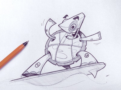 Summertime pencil ink sketchbook turtle summertime summer surfer drawing sketch fun character pen