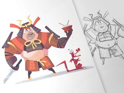 Shared Lunch glutton rice character cartooning process fun mad dragon samurai lunch