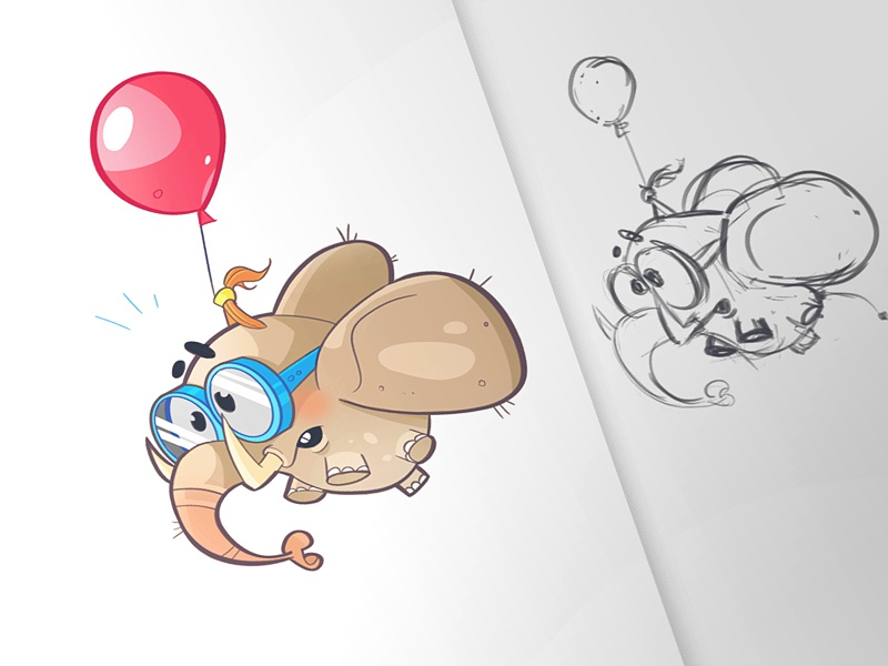Adrenaline process illustration character aviator elephant balloon fun adrenaline