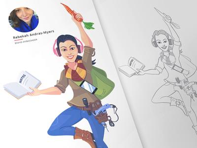 A new member caricature character process team fun cartoon cartoonish hobby music characterdesign