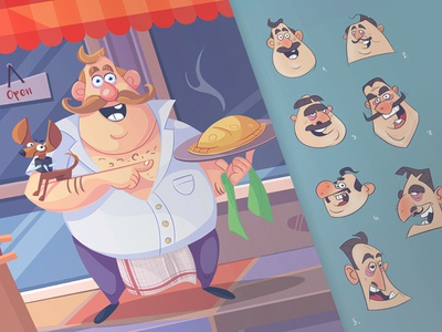 Cal character illustration avatar pet dog process fun pizzeria calzone cook chef pizza