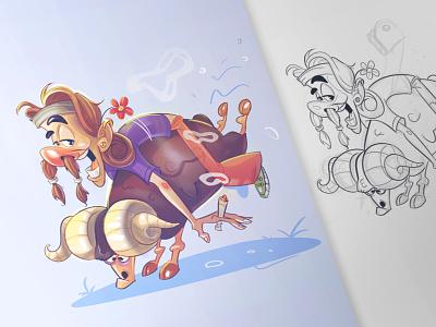 Hippie ram characterdesign character drawing process fun hippie