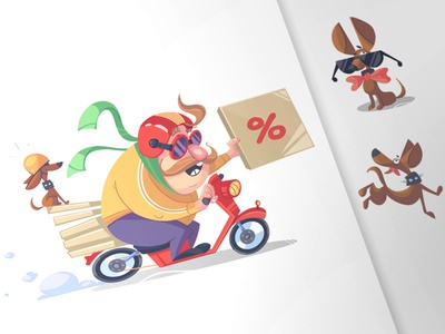 Pizza Delivery pizza chef cook calzone pizzeria fun process dog pet avatar illustration character