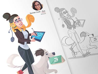A new team member characterdesign music hobby cartoonish cartoon fun team process character caricature