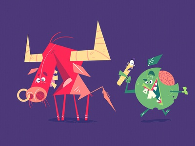 Red Bull and Apple redbull bull mad cartoon character characterdesign apple