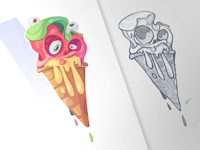 Summer of Monsters summer cartoon mad icecream line drawing characterdesign character monster