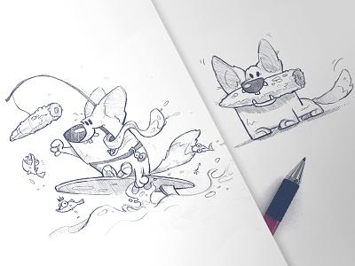 Corgi surf corn sketchbook sketch drawing pencil characterdesign character dog corgisofinstagram corgi