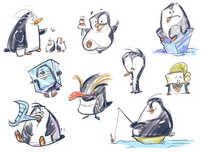 Penguins penguin penguins drawing sketch spovv coloring fun characterdesign character illustration