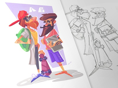 24 Мay sketch sketchbook drawing spovv fun pencil ink character characterdesign hipsters