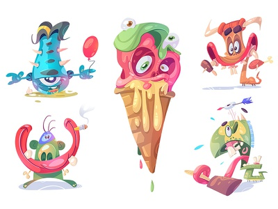 Summer of Monsters BUNDLE! resources spovv fun mad free fribies download png illustration adobe icecream