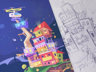 Turn your idea into reality environment design environment spovv puzzle city adventure game adventure cartoon illustration process characterdesign sketch drawing