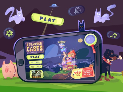 Game UI icon spovv cartoon illustration adventure puzzle game puzzle interace game art gameui game ui character characterdesign design