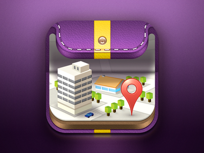 Wallet icon 3 illustration icon direction skin map city wallet