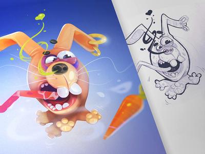 The Hunter 3d art 3d hunter game rabbit coloring process spovv pencil illustration sketch characterdesign drawing fun character cartoon