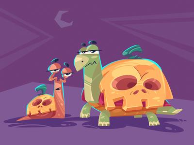 Awkward Coincidence pumpkin party turtle halloween snail spovv process illustration cartoon characterdesign fun character