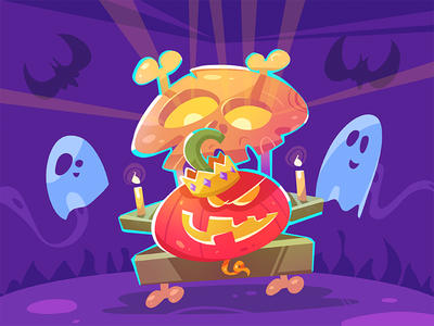 🎃 Night King 🎃 ghost bat night party skull pumpkin character fun spovv process cartoon illustration characterdesign halloween king