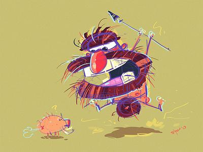 The Hunter cavemen prehistoric fun coloring spovv process cartoon illustration drawing characterdesign character