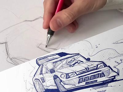 Train your skills speed paint speed peugeot205 peugeot car ink pencil spovv process cartoon illustration sketch drawing fun