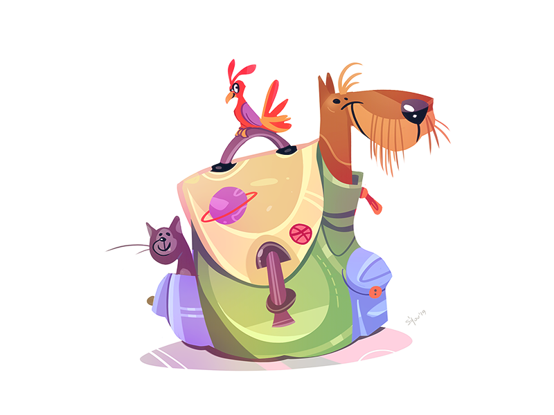 Time To Travel adventure bird dog cat travel coloring cartoon spovv illustration characterdesign drawing fun character