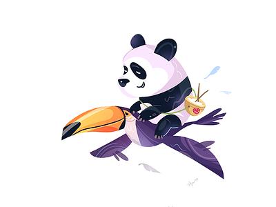 Time To Travel coloring process cartoon spovv illustration characterdesign fun character friends friend trip adventure travel animal panda bird toucan
