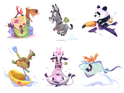Time To Travel friends adventure trip travel animal animals coloring process cartoon spovv illustration characterdesign drawing fun character