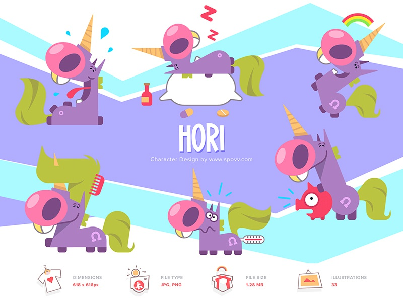 Shopy sticker design stickers sticker kids violet pink inicorns unicorn coloring cartoon spovv illustration characterdesign fun character