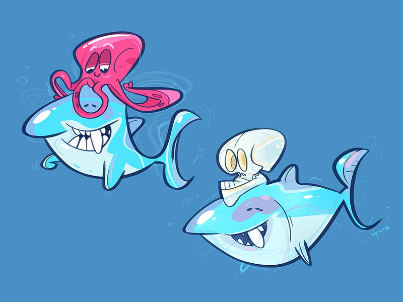 Shark Attack skull shark attack octopus shark coloring cartoon process spovv sketch illustration characterdesign fun character