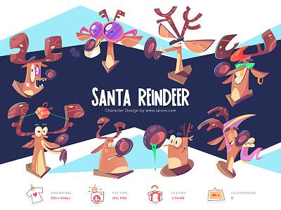 Shopy mad store shop crazy reindeer santaclaus santa coloring cartoon process spovv sketch illustration characterdesign fun character