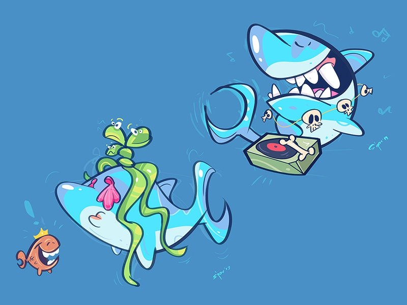Shark Party fish music dj party shark cartoon spovv illustration characterdesign fun character