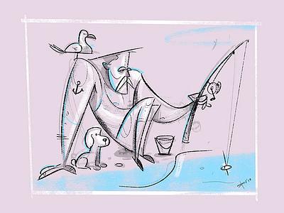 Fisherman coloring fisherman cartoon process spovv sketch illustration drawing characterdesign fun character