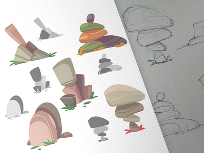 Game Elements island adventure stones game design coloring cartoon process spovv sketch illustration drawing characterdesign fun character