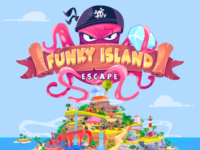 Escape Funky Island adventure escape gamedesign game island coloring cartoon process spovv illustration drawing fun characterdesign character