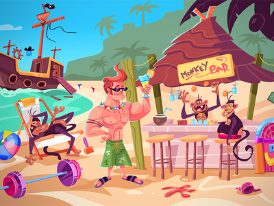 Beach Party! escape puzzle adventure game design game island party beach party beach cartoon spovv illustration drawing characterdesign fun character