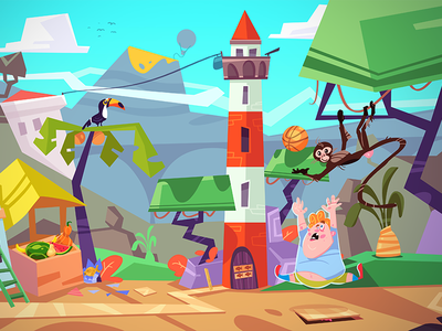 Market Mess kid monkey puzzle game puzzle adventure island game development game art game cartoon spovv illustration drawing characterdesign fun character