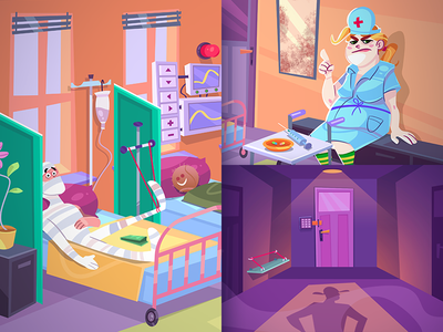 Clinic Complication island puzzle adventure game design game clinic coloring cartoon process spovv illustration drawing characterdesign fun character