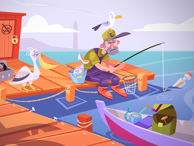 Fish and Feathers sea fisherman fish adventure game puzzle adventure island game design game cartoon spovv illustration coloring characterdesign process fun character